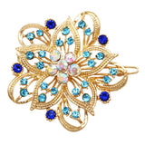 Crystal Hair Clip Rhinestone Barrette Hair Accessories Large Single Flower (Blue/Gold)