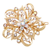 Crystal Hair Clip Rhinestone Barrette Hair Accessories Large Single Flower (Clear Crystal/Gold)