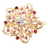 Pink and Gold Color Crystal Hair Clip Rhinestone Barrette Hair Accessories Large Single Flower (Pink/Gold)