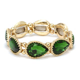 Elegant Green Teardrop Rhinestone Adjustable Stretch Bracelet