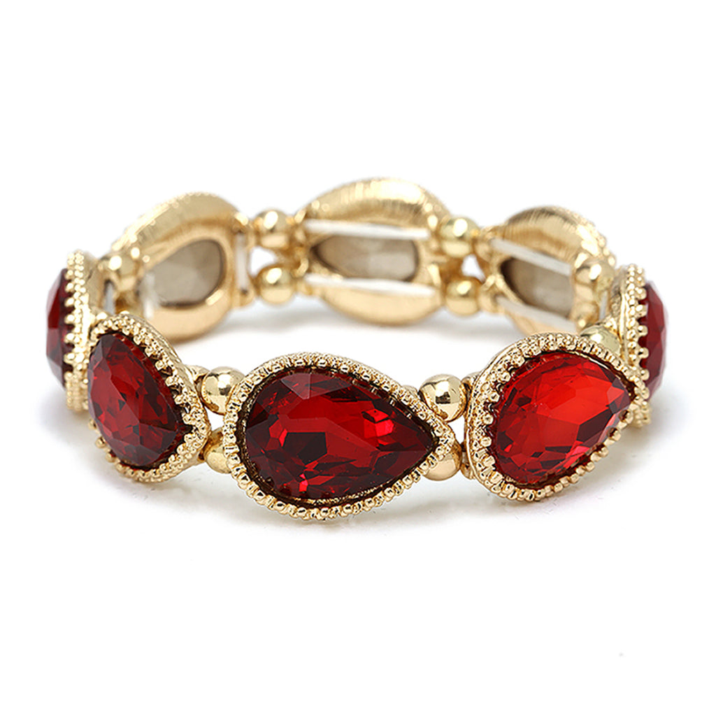 Red Teardrop Rhinestone Stretch Bracelet