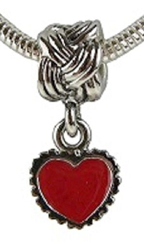 Serrate Edge Red Heart with Celtic Knot  Style Bead Charm Fits All Brand Charm Bracelets