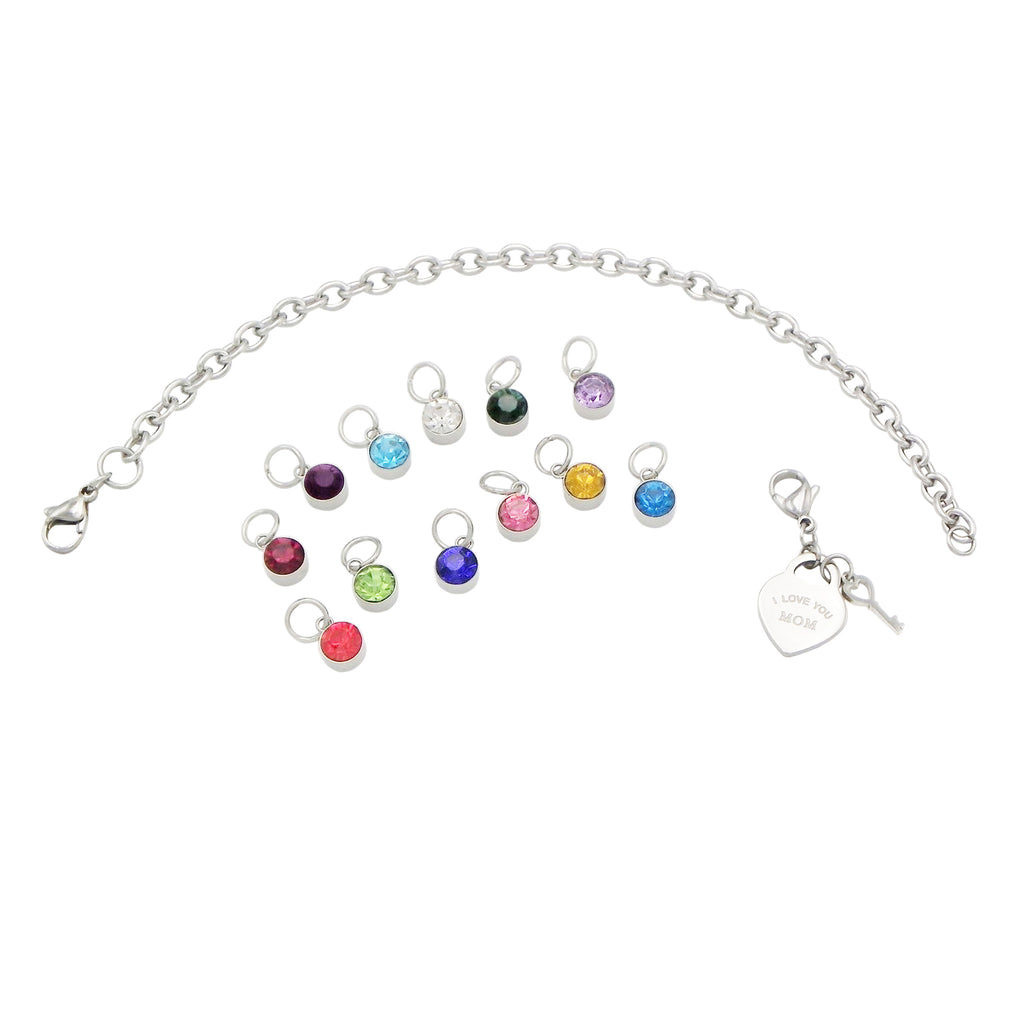 "Birthstone Heart Charm ""I Love You Mom"" Bracelet from Your Children"