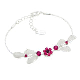 Floral Fuchsia Statement Necklace Bracelet Earring Jewelry Set 17