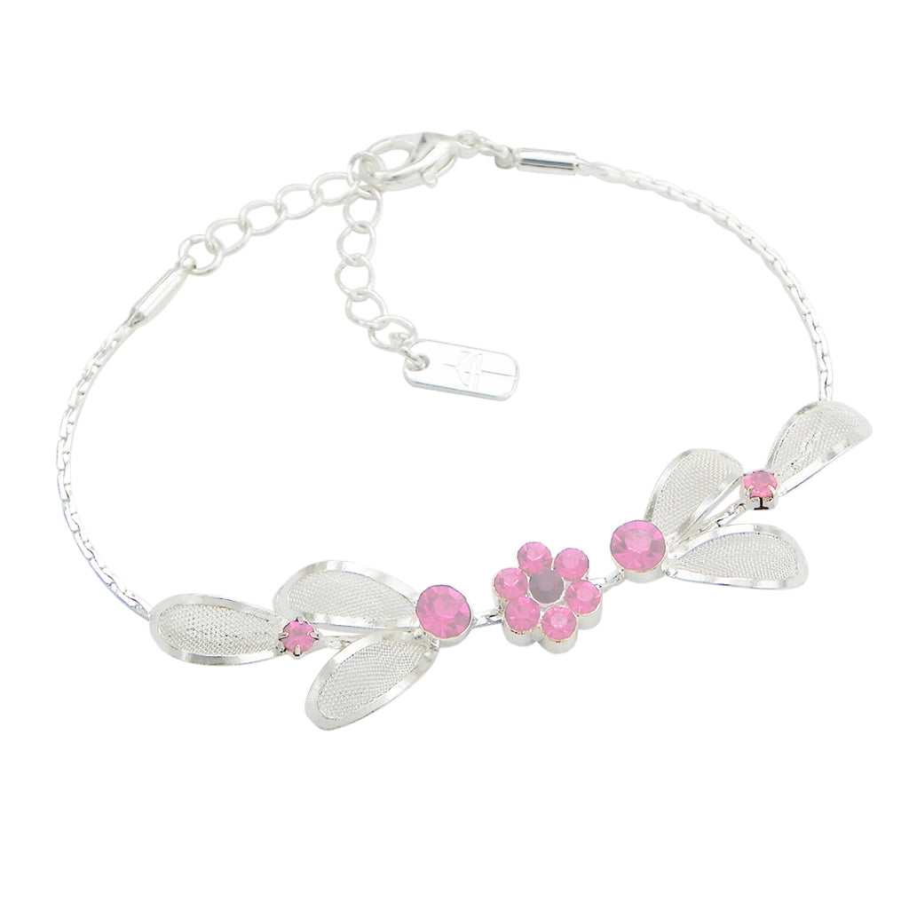 "Floral Statement Soft Pastel Pink Necklace Bracelet Earring Jewelry Set 17"" with 4"" Extender"