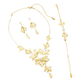 Women's Floral Statement Necklace Bracelet Earring Jewelry Gift Set (Clear Crystals/Gold Tone)