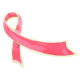 Women's Pink Ribbon Breast Cancer Awareness Enamel Lapel Pin Brooch