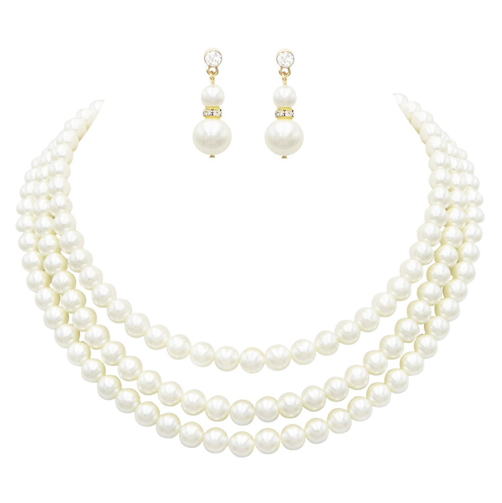 "Women's Multi Strand Classic Cream Faux Pearl Necklace and Earrings Jewelry Gift Set,16"" with 3"" Extender"