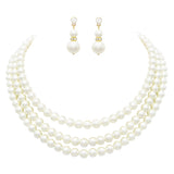 Women's Multi Strand Classic Cream Faux Pearl Necklace and Earrings Jewelry Gift Set,16