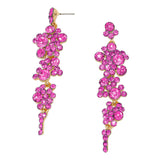 Crystal Rhinestone Bubble Dangle Statement Earrings (Pink)