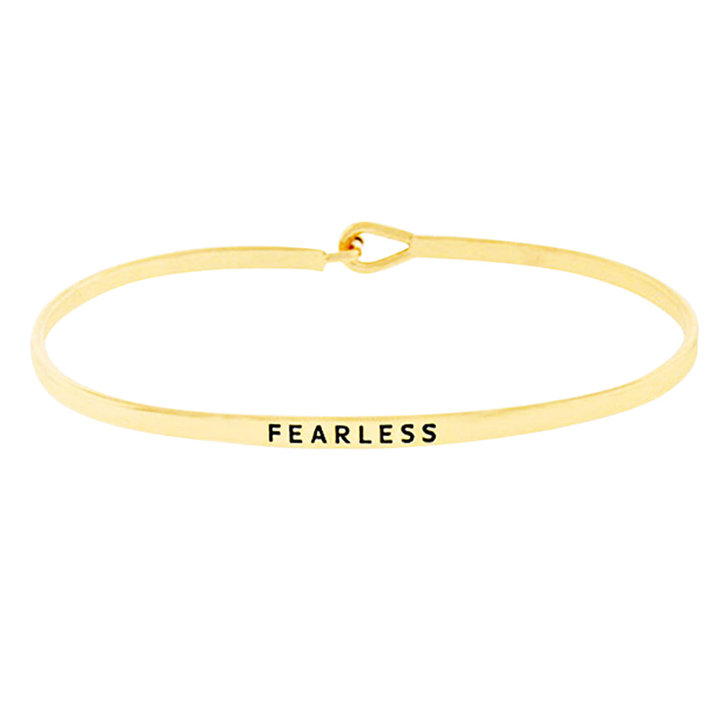 "Thin Hook Bangle Bracelet ""Fearless"" Gold Tone"