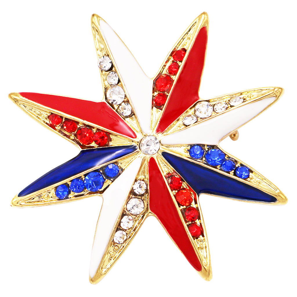 Women's Red White and Blue Enamel and Rhinestone Star American Flag Brooch Lapel Pin