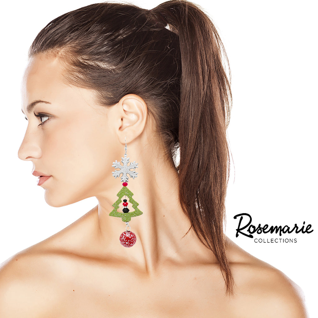 Statement Holiday Christmas Tree Snowflake Extra Long Earrings