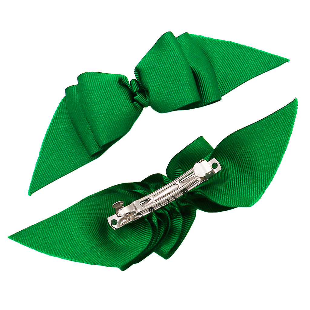 Saint Patrick's Day Set of 2 Green Special Occasion Hair Clip Bows