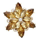 Dazzling Crystal Flower Stretch Cocktail Ring (Topaz/Gold Tone)