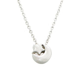 Pendant Necklace Star and Crescent Moon Silver Tone