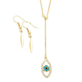 Pave Evil Eye Pendant Y Necklace and Earrings Set