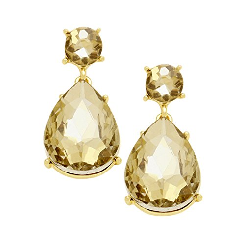 Sparkling Crystal Teardrop Statement Dangle Earrings (Gold Tone Topaz)