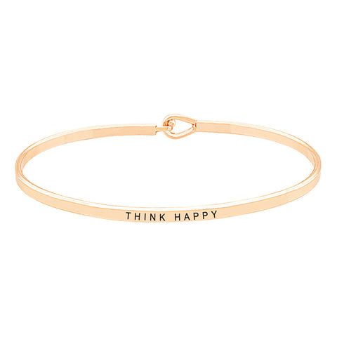 "Inspirational Thin Hook Bangle Bracelet ""Be Brave"" (Gold)"
