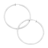 Clip On Textured Hoop Earrings (Silver Tone 3 Inch)