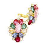 Beautiful Multi Color Rhinestone Statement Clip On Earrings