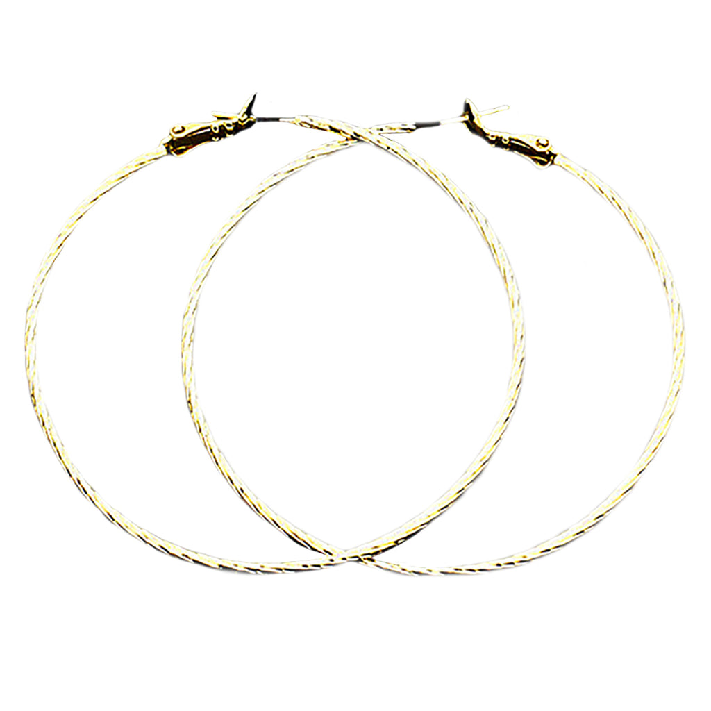 Textured Hoop Earrings 2.25 Inch (14K Gold Dipped)