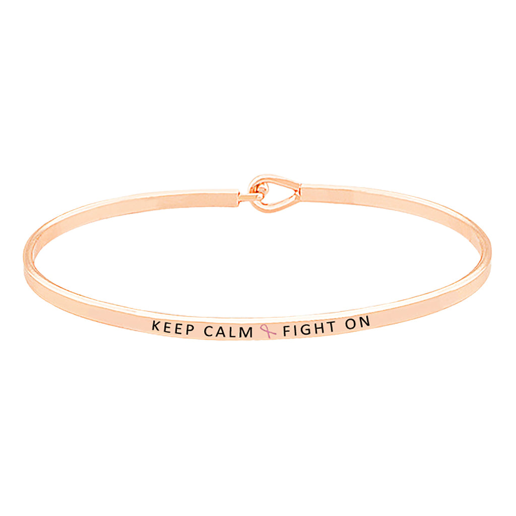 Breast Cancer Pink Ribbon Thin Hook Bangle Bracelet Keep Calm Fight On