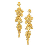 Crystal Rhinestone Bubble Dangle Statement Earrings (Gold)