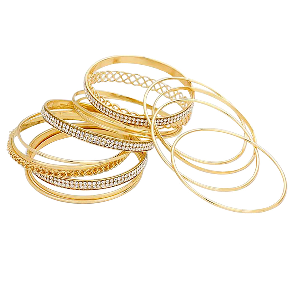 Women's Gold Tone and Rhinestone Layered Bangle Bracelet Set of 13