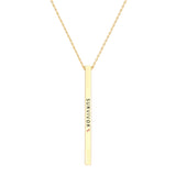 Women's Pink Ribbon Gold Tone Vertical Bar Pendant Necklace Survivor