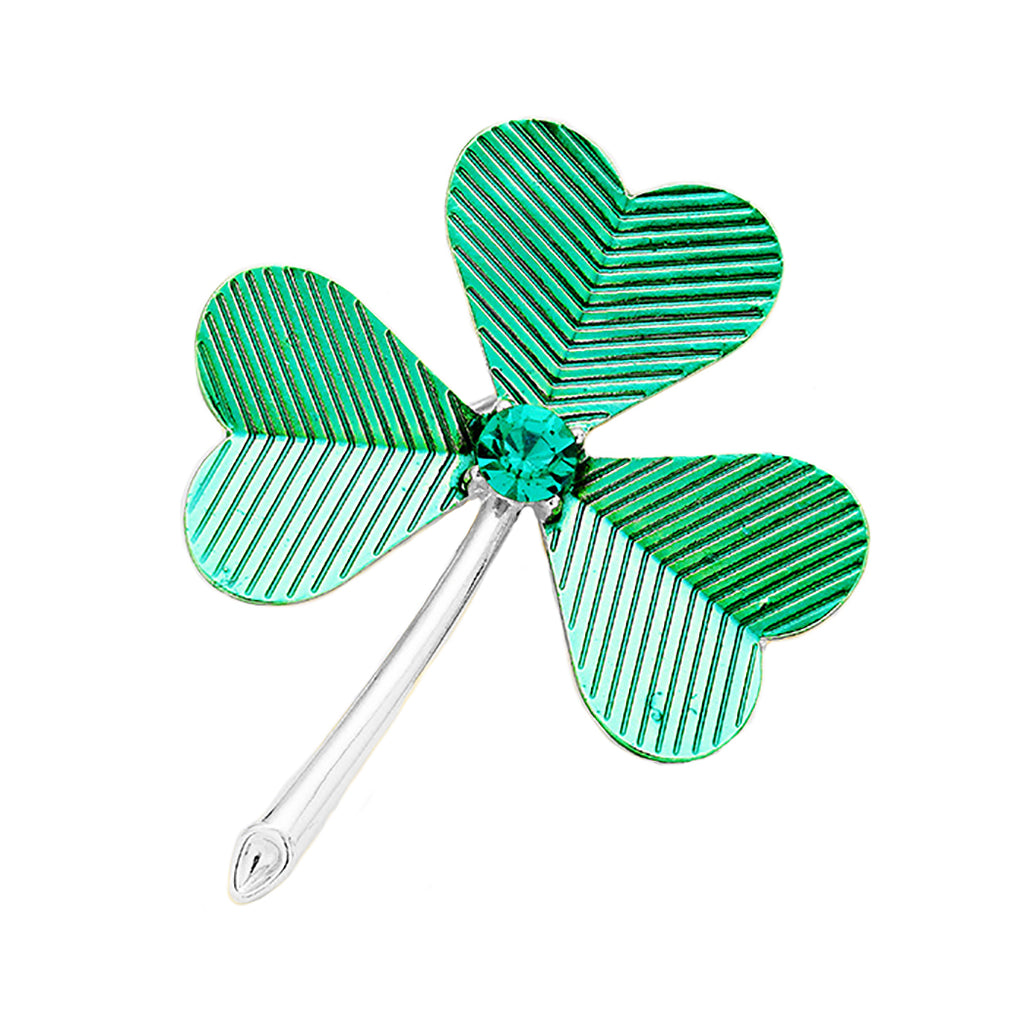 Green Lucky Shamrock Clover St Patrick's Day Brooch Pin
