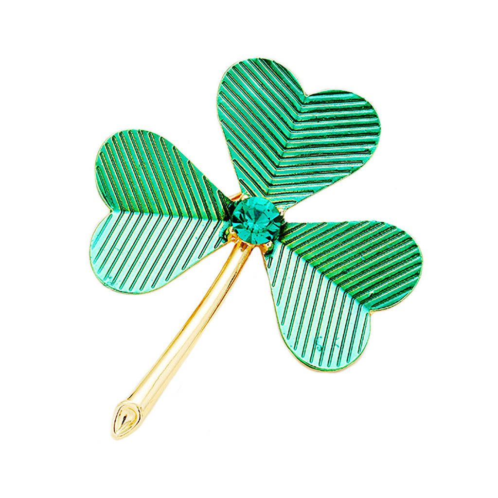 Green and Gold Color Lucky Shamrock Clover Rhinestone St Patrick's Day Brooch Pin