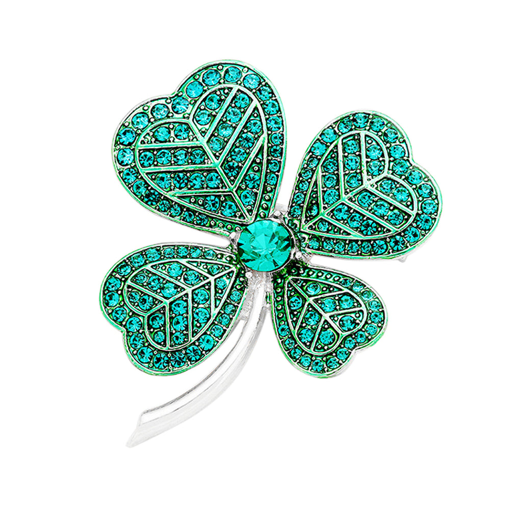 Lucky Irish Four Leaf Clover Pin Brooch
