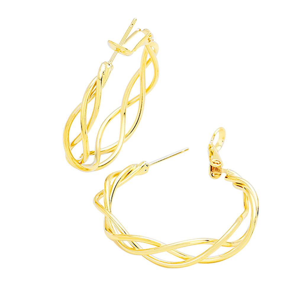 Rosemarie Collections Hypoallergenic 14K Gold Filled Braided Hoop Earrings (Gold Tone)