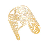 Filigree Flower and Leaf Wide Cuff Bangle Bracelet (Gold Tone)