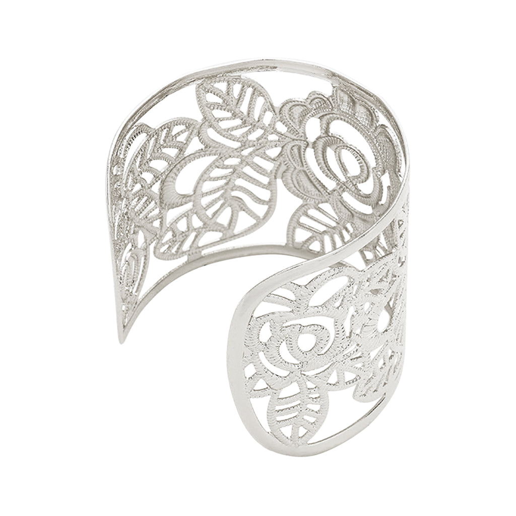 Filigree Flower and Leaf Wide Cuff Bangle Bracelet (Silver Tone)