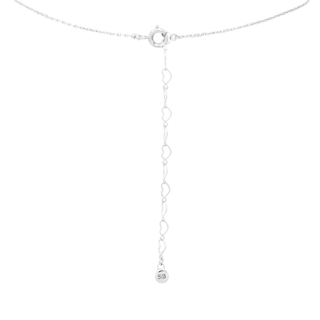 14K White Gold Dipped Crescent Moon Cubic Zirconia Pendant Necklace