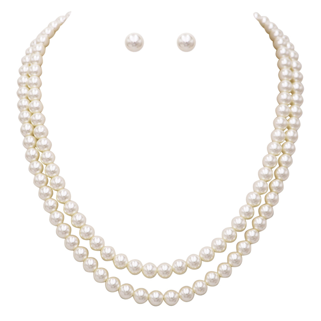 "Double Strand Classic Cream Simulated Pearl Necklace and Earring Jewelry Gift Set, 20""- 22"" with 2.5"" extender"