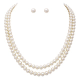 Double Strand Classic Cream Simulated Pearl Necklace and Earring Jewelry Gift Set, 20