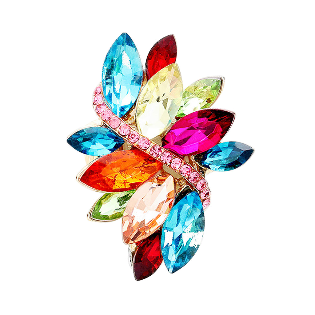Dazzling Crystal Leaf Stretch Cocktail Ring (Multi Color)