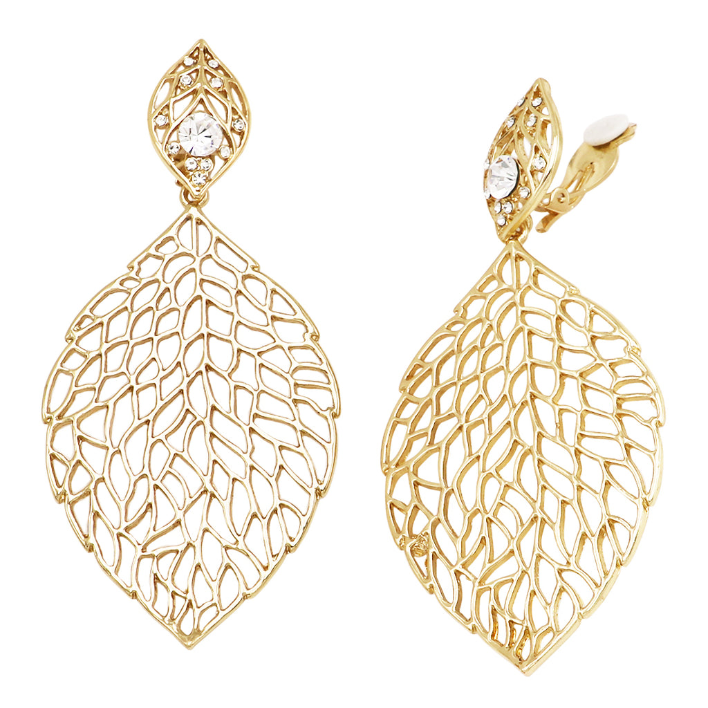 52e506f12cd628 Extra Large Leaf Crystal and Filigree Clip on Earrings – Rosemarie  Collections