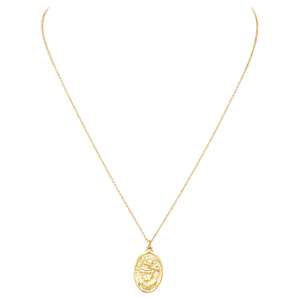 Religious St Francis Medal Pendant Necklace (14K Gold Dipped)