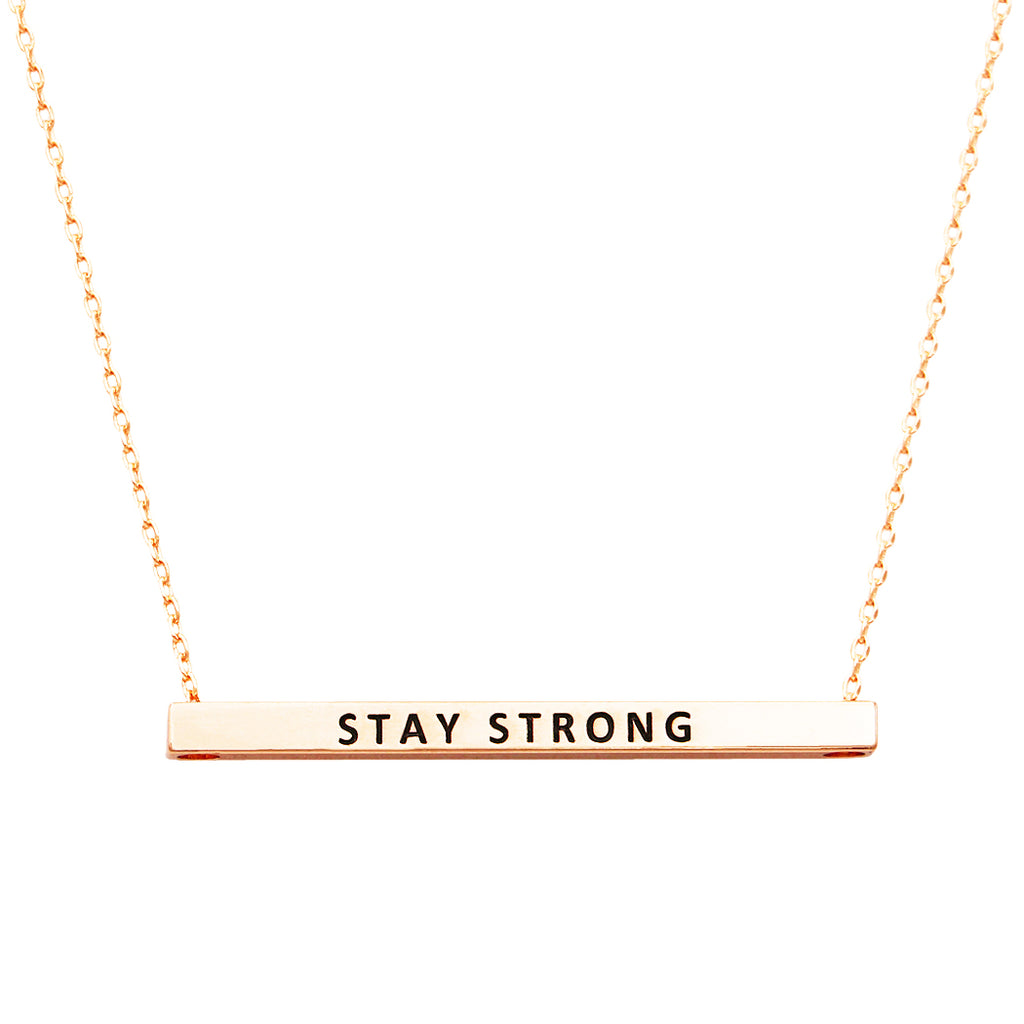 Horizontal Bar Pendant Necklace Stay Strong