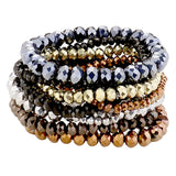 Multi Layer Faceted Bead Stretch Bracelets Set of 9 (Metallic Multicolored)