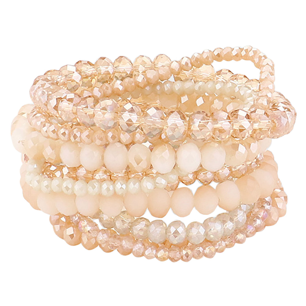 Multi Layer Faceted Bead Stretch Bracelets Set of 9 (Cream Multicolored)