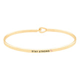Breast Cancer Awareness Pink Ribbon Thin Hook Bangle Bracelet Stay Strong (Gold Tone)