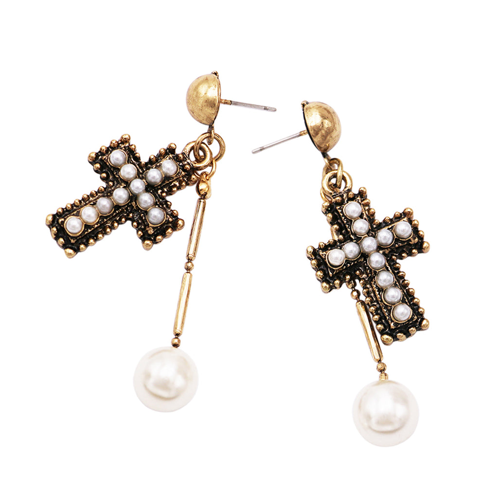 Stunning Simulated Pearl Antique Metal Cross Dangle Earrings, 2.25""