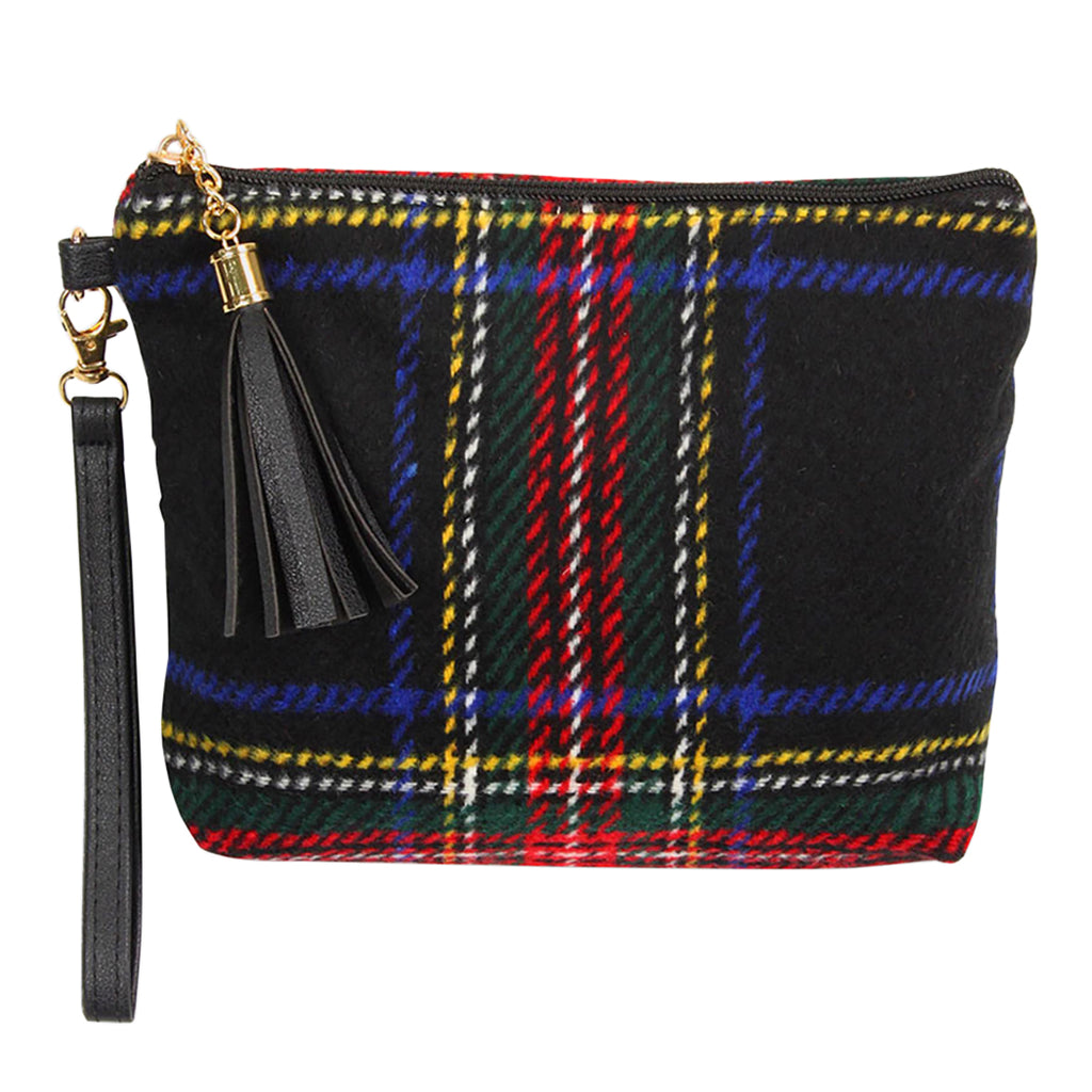 Clutch Purse Holiday Wristlet With Hand Strap Black Tartan Christmas P Rosemarie Collections
