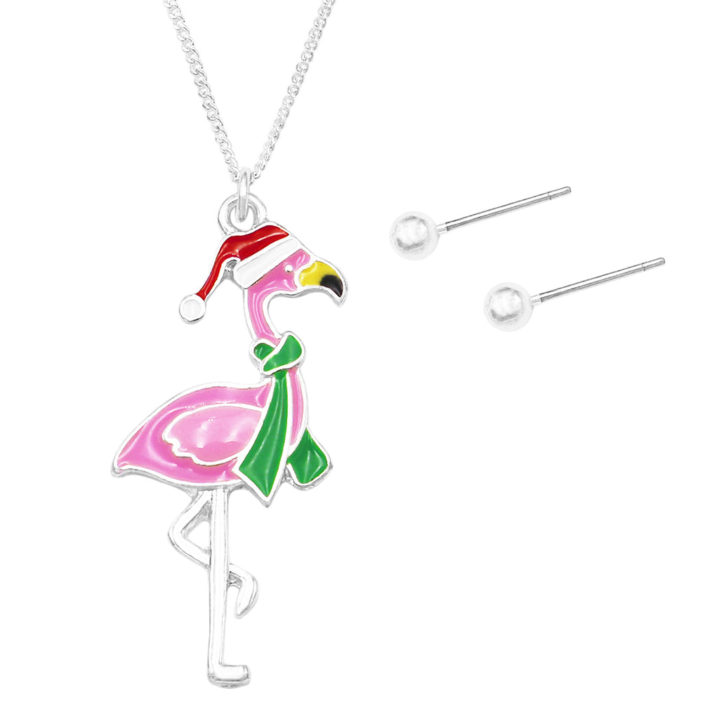 Christmas Holiday Enamel Flamingo Fun Charm Pendant Necklace and Earring Jewelry Gift Set