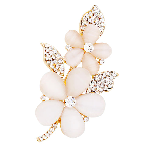 Women's Sparkling Crystal Rhinestone Simulated Pearl Gold Regal Princess Queen Crown Brooch Pin